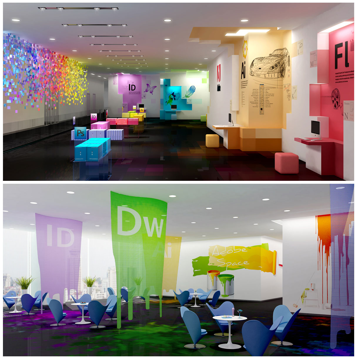 Adobe\'s Office: an artist\'s visualization | Color walls, Adobe and ...
